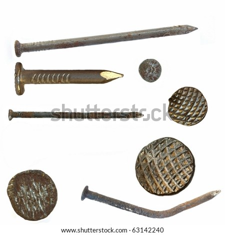 old rusty metal nail isolated on white background - stock photo