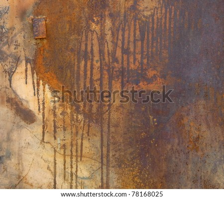 Old rusty metal plate - stock photo
