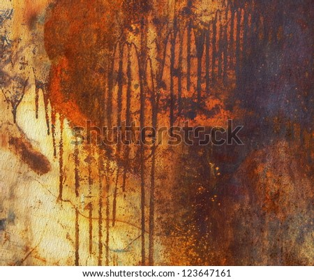 Old rusty metal plate background, texture - stock photo