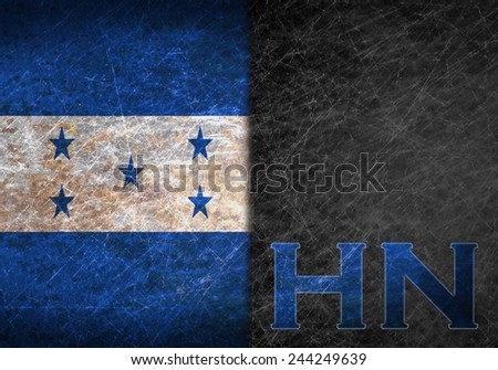 Old rusty metal sign with a flag and country abbreviation - Honduras