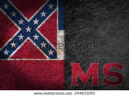 Old rusty metal sign with a flag and US state abbreviation - Mississippi - stock photo