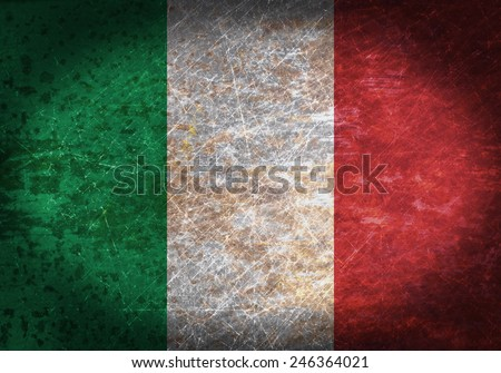 Old rusty metal sign with a flag - Italy - stock photo
