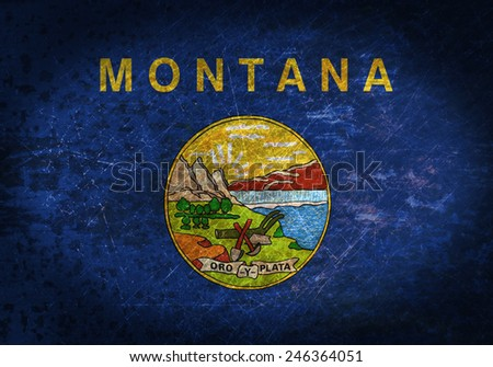 Old rusty metal sign with a flag - Montana - stock photo