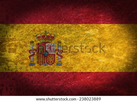 Old rusty metal sign with a flag - Spain
