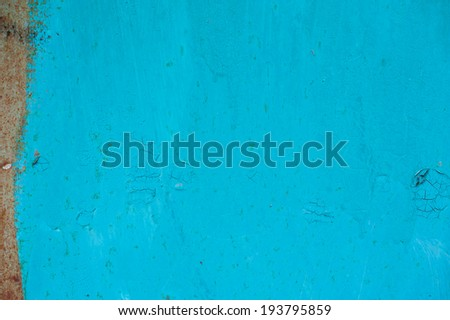 Old rusty metal texture painted with blue paint - stock photo
