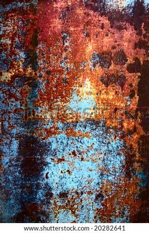 old rusty metal wall - stock photo