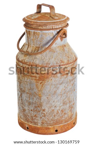 Old rusty milk can over a white background - stock photo