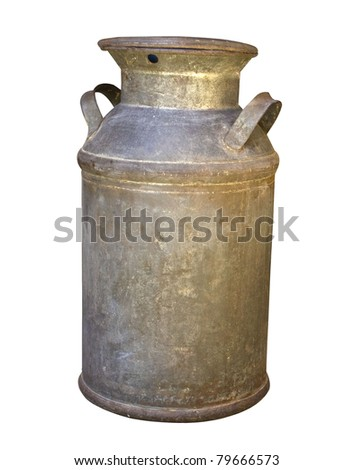 Old Rusty Milk Can with Clipping Path - stock photo