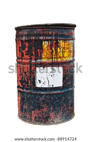 Old rusty oil drum with white sticker on white isolated background - stock photo
