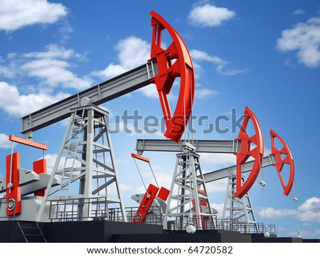Old rusty oil pump jack - stock photo