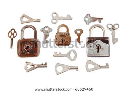 Old rusty padlock and key, isolated on white background - stock photo