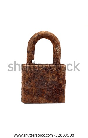 Old rusty padlock isolated on a white background