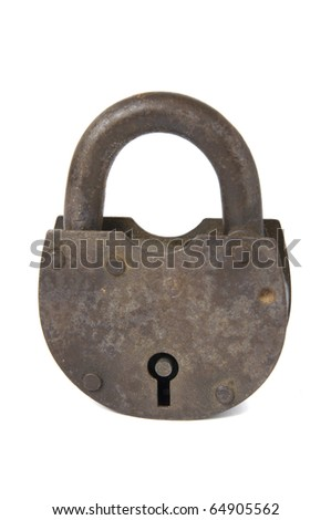 Old rusty padlock isolated on white background - stock photo