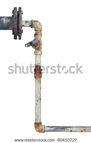 Old rusty pipes, aged weathered isolated grunge rustic iron pipeline and plumbing connection joints with industrial tap fittings, faucets and valve - stock photo