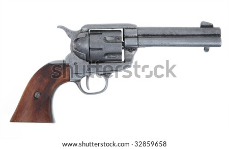 old rusty revolver - stock photo