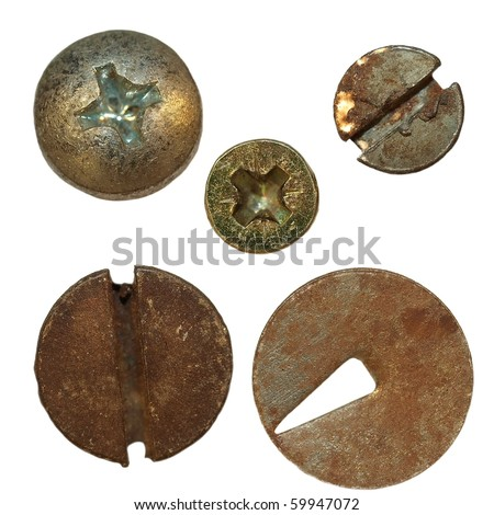 old rusty Screw heads, bolts, old metal pin isolated on white background - stock photo