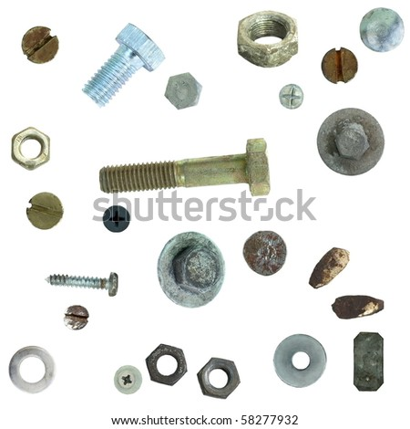 Old rusty Screw heads, bolts, steel nuts,  isolated on white background (exclusive) - stock photo