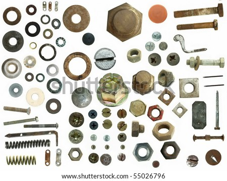 Old rusty Screw heads, bolts, steel nuts, metal spring isolated on white background - stock photo