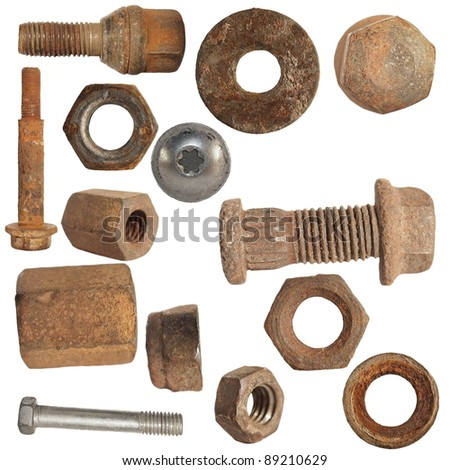 Old rusty screw heads, bolts, steel nuts, old metal  isolated on white background, collection - stock photo