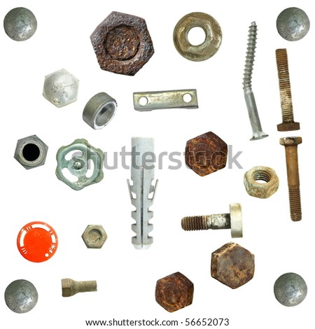 Old rusty Screw heads, bolts, valve, steel nuts, isolated on white background - stock photo