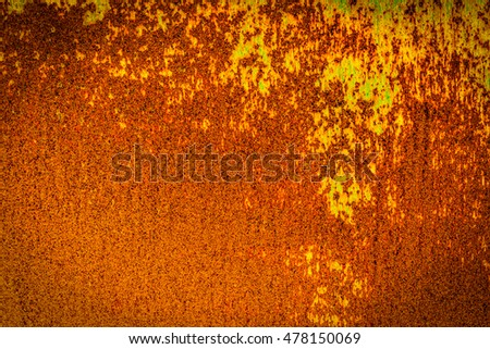 Old rusty sheet metal with flaking paint. Iron surface rust. Texture of an rusty metal. Closeup