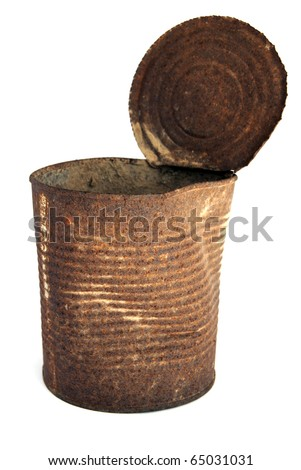 Old rusty tin can on white background - stock photo