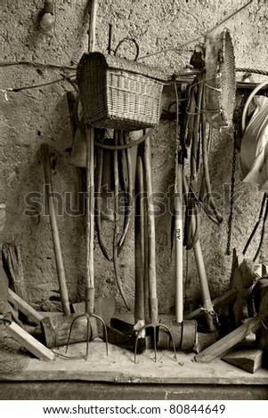 old rusty tools in a rural interior