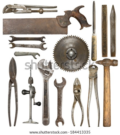 Old rusty tools, isolated - stock photo