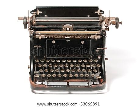 Old rusty typewriter isolated on white background - stock photo