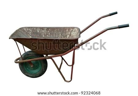 old rusty vintage wheelbarrow - stock photo