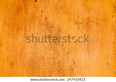 old rusty vintage yellow iron metal horizontal background - stock photo