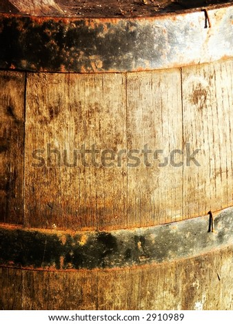 Old rusty wood barrel detail. Wine barrel - stock photo