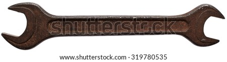 Old rusty wrench isolated on white background - stock photo