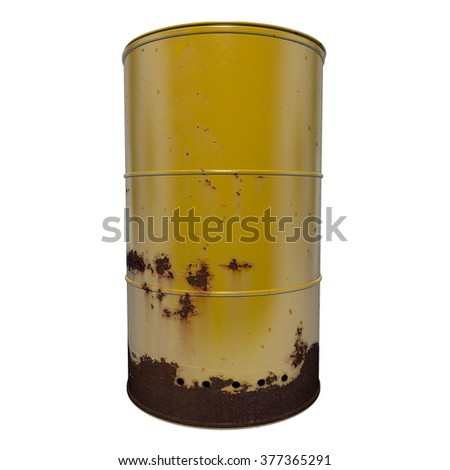Old rusty yellow oil barrell, with isolated background.