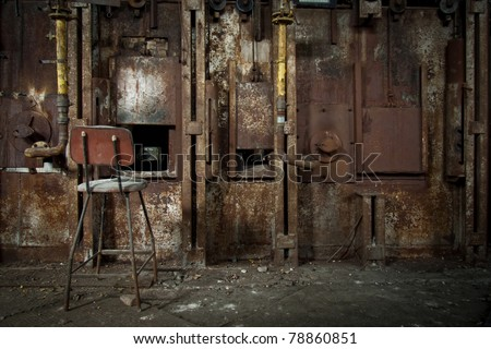 Old rusty zinc smelter furnace in abandoned industrial factory. - stock photo