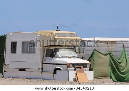 Old RV in a trailer park. Canary Island Fuerteventura, Spain - stock photo