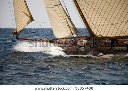 Old sail boat on the sea - stock photo
