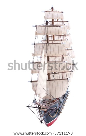 old sail ship model isolated on white - stock photo