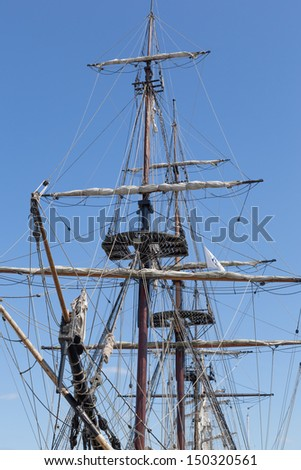 Old sail ship restored to navigation - stock photo