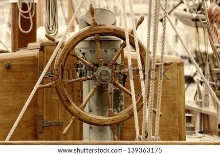 old sailboat rudder - stock photo