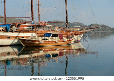 old sailing ship in the harbor of sea - stock photo