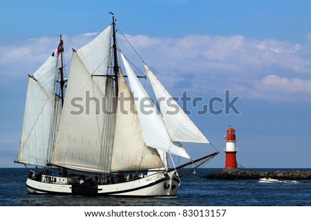 Old Sailing ship in Warnemünde 01 - stock photo