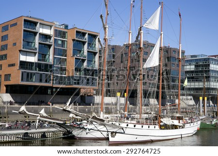 Old sailing ships in Hafencity in Hamburg, Germany - stock photo