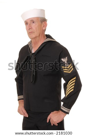 Old sailor from the United States Navy - stock photo