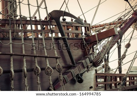Old sailship. Vintage retro style. - stock photo
