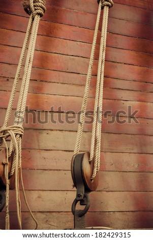 Old sailship. Vintage retro style. - stock photo