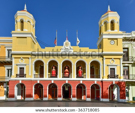 Old San Juan City Hall in the Plaza de Armas in Puerto Rico. - stock photo