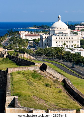 Old San Juan Puerto Rico With Capital - stock photo