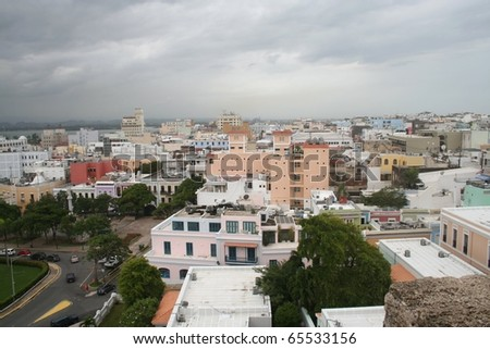 Old San Juan Puerto Rico with Tropical Storm Clouds - stock photo