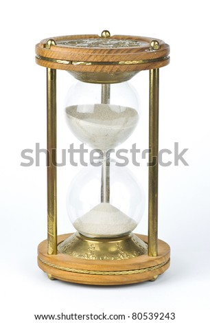 Old Sandglass isolated on white background - stock photo